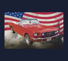 1965 Red Ford Mustang And American Flag Kids Tee