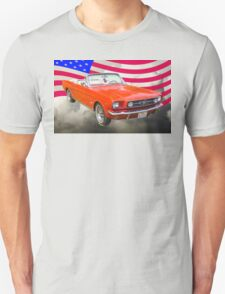 1965 Red Ford Mustang And American Flag T-Shirt