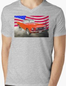 1965 Red Ford Mustang And American Flag Mens V-Neck T-Shirt