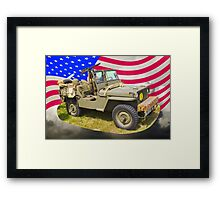 Willys World War Two Jeep And American Flag Framed Print