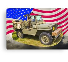 Willys World War Two Jeep And American Flag Canvas Print