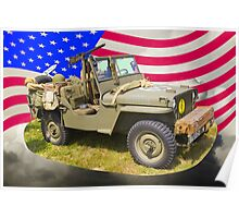 Willys World War Two Jeep And American Flag Poster