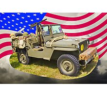 Willys World War Two Jeep And American Flag Photographic Print
