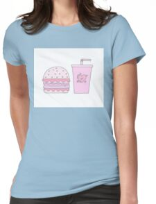 Pink Burger and Drink Womens Fitted T-Shirt