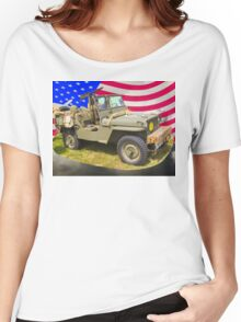 Willys World War Two Jeep And American Flag Women's Relaxed Fit T-Shirt