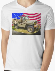 Willys World War Two Jeep And American Flag Mens V-Neck T-Shirt