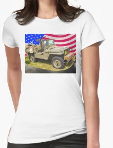 Willys World War Two Jeep And American Flag Womens Fitted T-Shirt