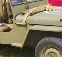 Willys World War Two Jeep And American Flag Sticker