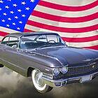 1960 Cadillac Luxury Car And American Flag by KWJphotoart