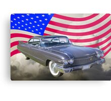 1960 Cadillac Luxury Car And American Flag Metal Print