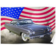 1960 Cadillac Luxury Car And American Flag Poster