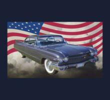 1960 Cadillac Luxury Car And American Flag Kids Tee