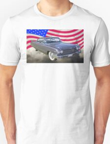 1960 Cadillac Luxury Car And American Flag T-Shirt