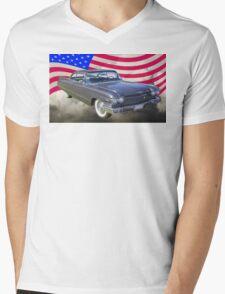 1960 Cadillac Luxury Car And American Flag Mens V-Neck T-Shirt