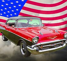 1957 Chevy Bel Air And American Flag by KWJphotoart