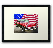 1957 Chevy Bel Air And American Flag Framed Print