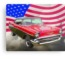 1957 Chevy Bel Air And American Flag Metal Print