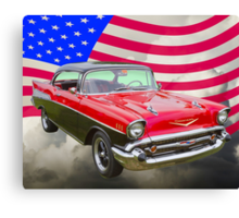 1957 Chevy Bel Air And American Flag Canvas Print
