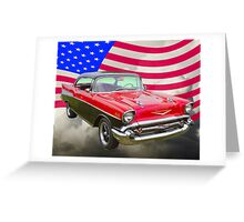 1957 Chevy Bel Air And American Flag Greeting Card
