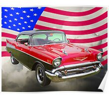 1957 Chevy Bel Air And American Flag Poster