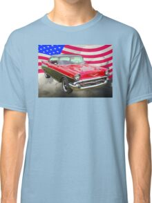 1957 Chevy Bel Air And American Flag Classic T-Shirt