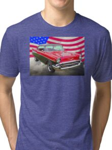 1957 Chevy Bel Air And American Flag Tri-blend T-Shirt