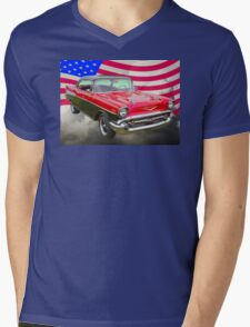 1957 Chevy Bel Air And American Flag Mens V-Neck T-Shirt