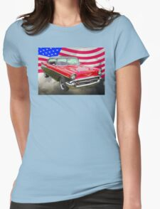1957 Chevy Bel Air And American Flag Womens Fitted T-Shirt