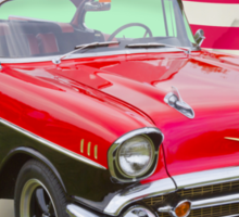 1957 Chevy Bel Air And American Flag Sticker