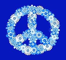 Peace Sign Floral Blue   by Valerie  Fuqua