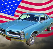 Blue 1966 Pontiac Lemans And American Flag  by KWJphotoart