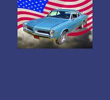 Blue 1966 Pontiac Lemans And American Flag  Unisex T-Shirt