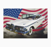 1959 Edsel Ford Ranger With American Flag One Piece - Short Sleeve