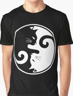 YIN YANG CAT Graphic T-Shirt