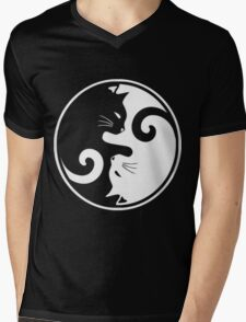 YIN YANG CAT Mens V-Neck T-Shirt