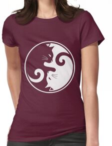 YIN YANG CAT Womens Fitted T-Shirt