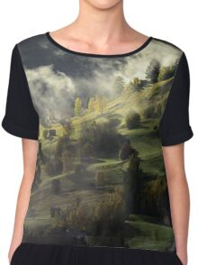 Beautiful sunny day is in mountain landscape Chiffon Top