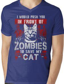 ZOMBIES CAT Mens V-Neck T-Shirt