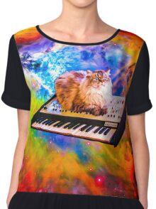 Keyboard Cat in Space Chiffon Top