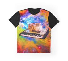 Keyboard Cat in Space Graphic T-Shirt
