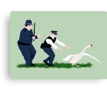 Swan cops Canvas Print