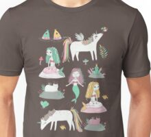 Unicorns and mermaids on the pond Unisex T-Shirt