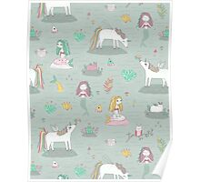 Unicorns and mermaids on the pond Poster