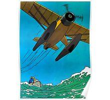 Tintin Airplane Print Poster