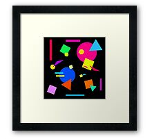 Coloured Retro (Large) Shapes 1980's - Black - 80s 80's 1980s 1980's 1980 Classic Throw Back Framed Print