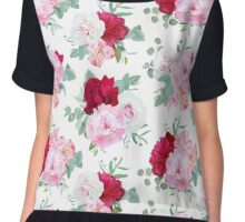 Luxury floral seamless vector print with peony Chiffon Top