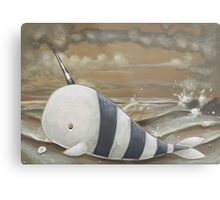 Beached Narwhal Metal Print