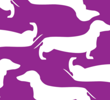 Cute Dachshund Pattern PURPLE DARK Sticker