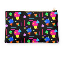 Coloured Retro (Small) Shapes  - Black - 80s 80's 1980s 1980's 1980 Classic Throw Back Studio Pouch