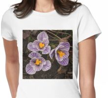 Purple Stripes and Golden Hearts - Crocus Harbingers of Spring Womens Fitted T-Shirt